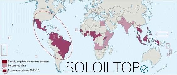 Distribuzione geografica del Virus Zika