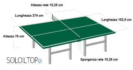 Illustrazione delle caratteristiche del tavolo da ping pong