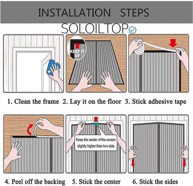 Istruzioni illustrate per installare la portafinestra magnetica